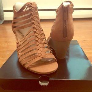 Camel heeled open toed wedge sandal booties